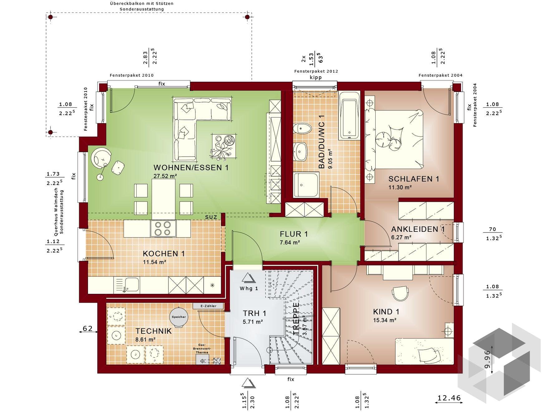 solution 204 v8 von living haus by bien zenker stadtvilla walmdach. Black Bedroom Furniture Sets. Home Design Ideas