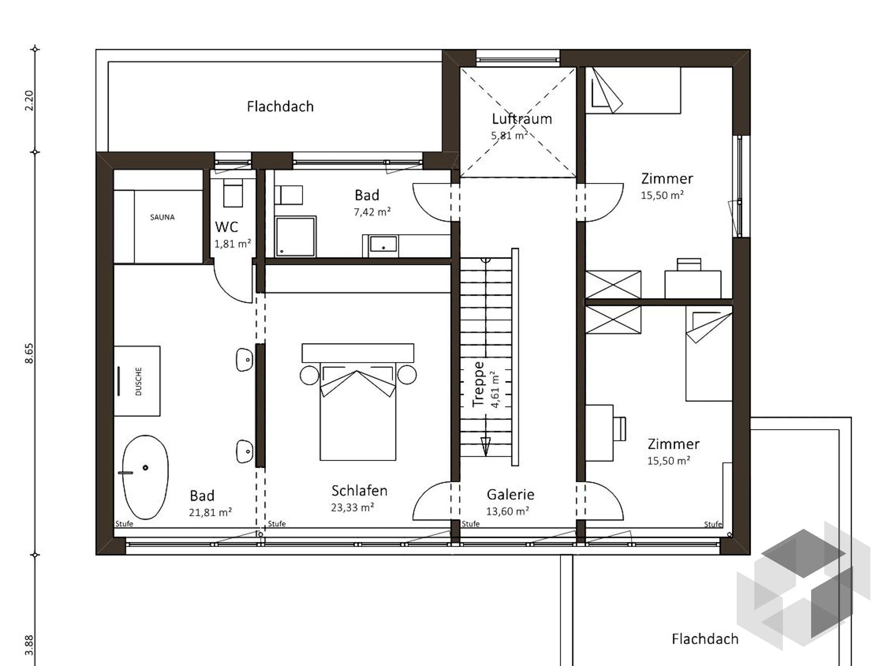 open mind 163 von die hausmanufaktur cubus haus flachdach. Black Bedroom Furniture Sets. Home Design Ideas